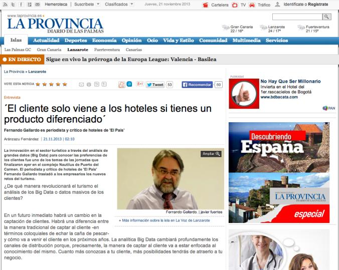 Fernando Gallardo es entrevistado en La Provincia, diario de Las Palmas